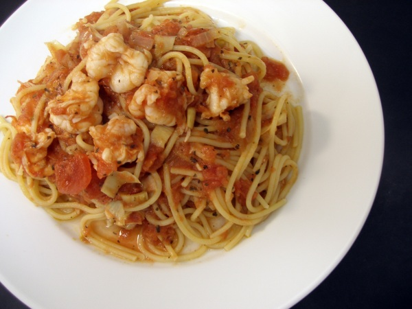 Cleo's Marinara tossed with spaghetti, shrimp and artichokes